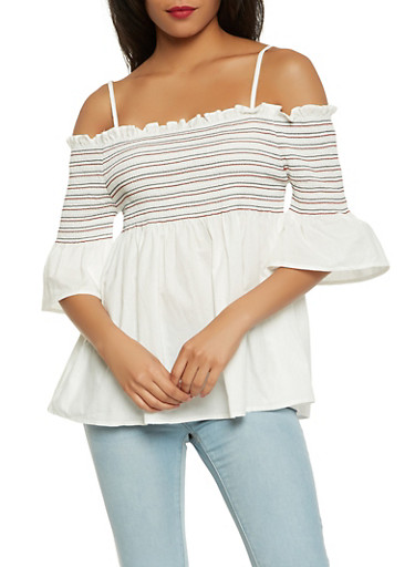 Off the Shoulder Babydoll Top,WHITE,large