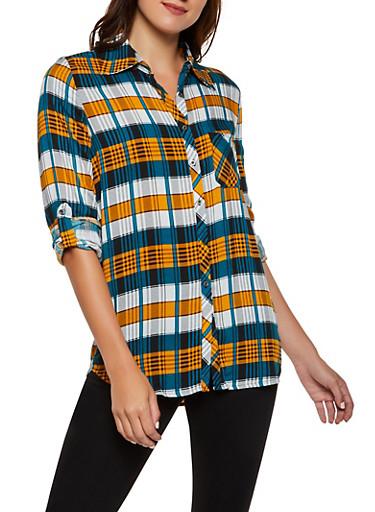 Plaid Rolled Cuff Shirt,MUSTARD,large