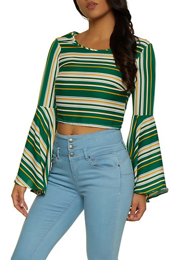 Bell Sleeve Striped Crop Top,HUNTER,large