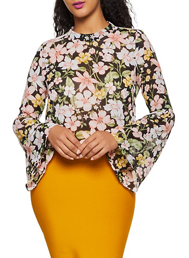 Floral Bell Sleeve Top | 3001074290572,BLACK,large
