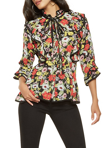 Ruffled Floral Button Front Shirt,BLACK,large