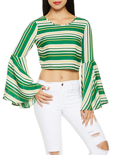 Striped Bell Sleeve Crop Top,HUNTER,large