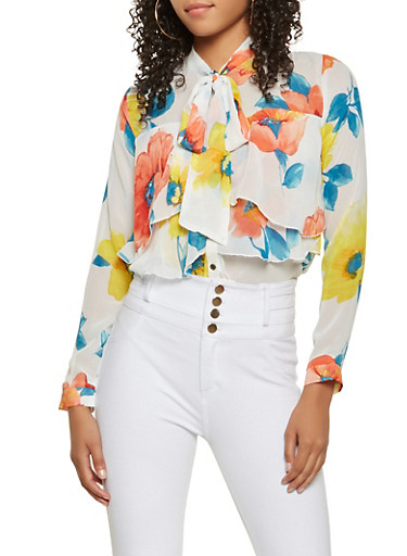 Sheer Floral Tiered Blouse,IVORY,large