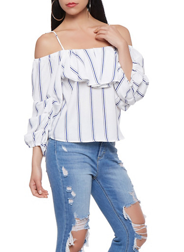Striped Off the Shoulder Top,WHITE,large