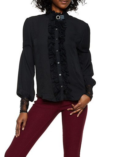 Lace Detail Blouse,BLACK,large