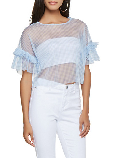 Gingham Mesh Top,WHITE/BLUE,large