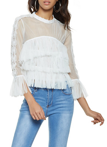 Crochet Tiered Tulle Top,WHITE,large