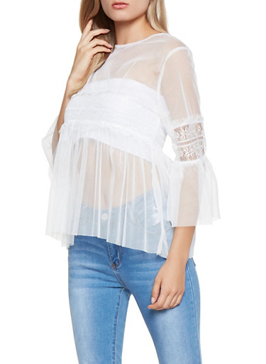 Bell Sleeve Mesh Baby Doll Top,WHITE,large