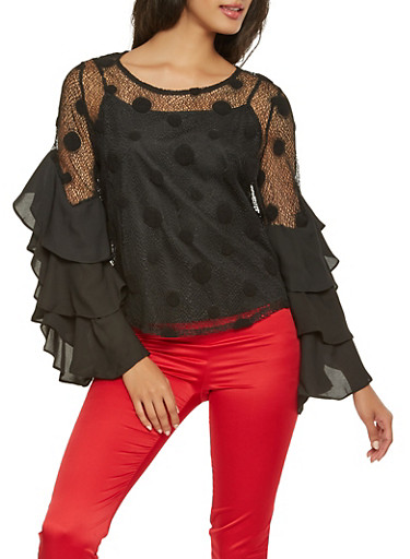 Polka Dot Lace Tiered Sleeve Top,BLACK,large