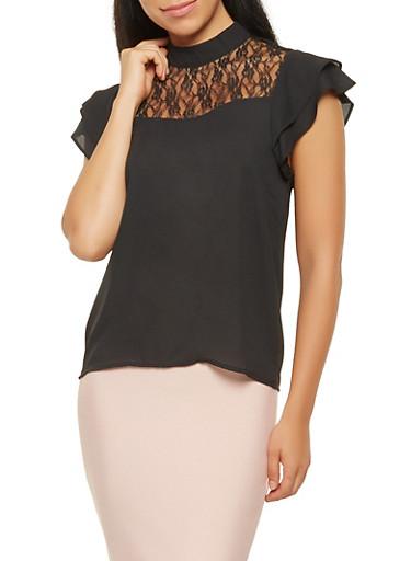 Tiered Sleeve Lace Yoke Blouse,BLACK,large