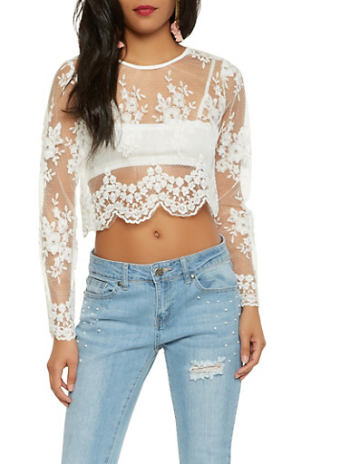 Sheer Embroidered Crop Top,WHITE,large