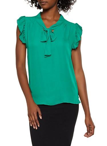 Flutter Sleeve Tie Neck Blouse,KELLY GREEN,large