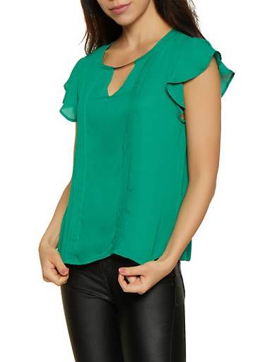 Pleated Flutter Sleeve Blouse,KELLY GREEN,large