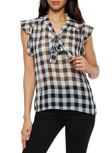 Printed Tie Neck Cap Sleeve Blouse,BLACK,large