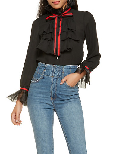 Ruffle Trim Button Down Shirt,BLACK,large