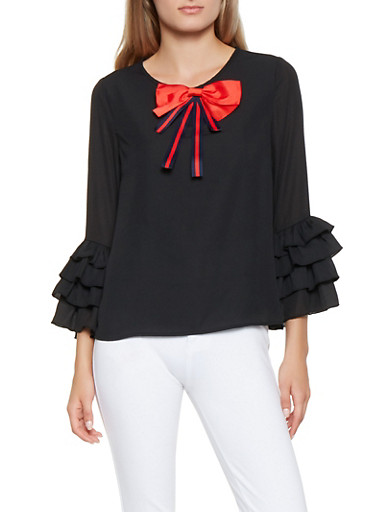 Tiered Ruffle Sleeve Blouse,BLACK,large