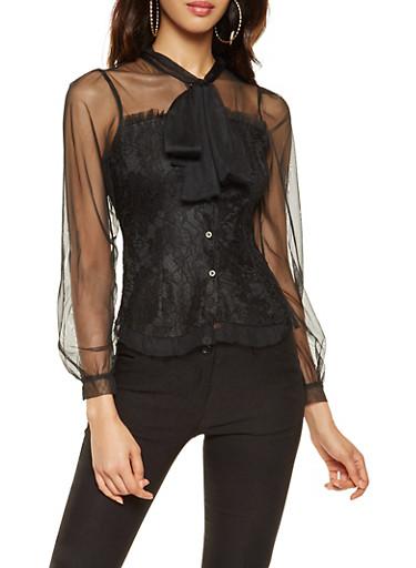 Mesh Trim Button Front Lace Top,BLACK,large