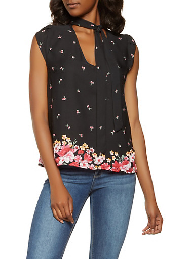 Floral Tie Neck Blouse,BLACK,large