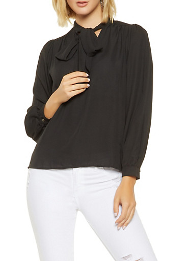 Tie Neck Blouse,BLACK,large