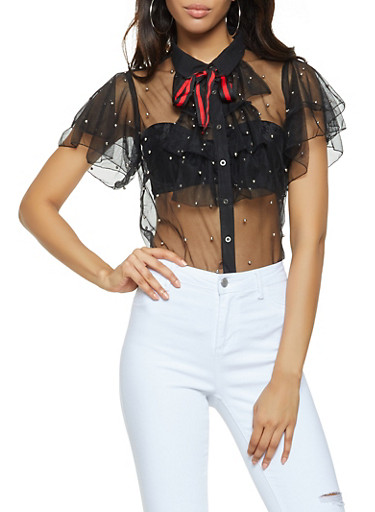 Studded Mesh Button Front Shirt,BLACK,large