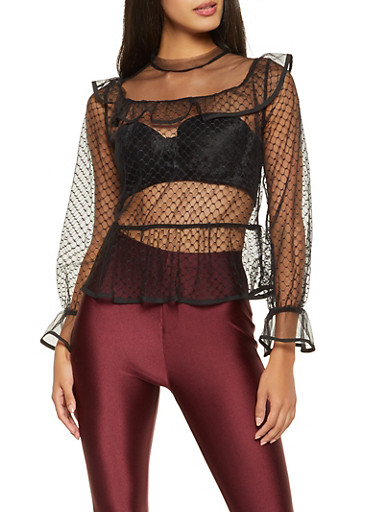 Ruffled Mesh Top,BLACK,large