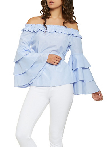 Striped Tiered Sleeve Off the Shoulder Top,BLUE,large
