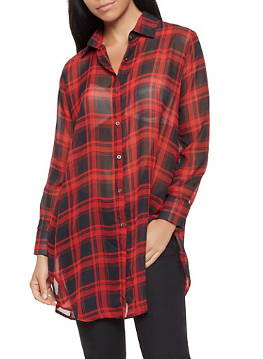 Sheer Plaid Tunic Shirt,RED,large