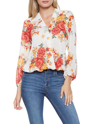 Printed Faux Wrap Blouse,WHITE,large