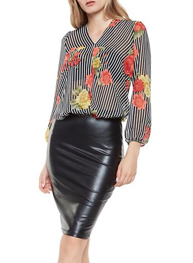 Floral Striped Tie Back Blouse,WHT-BLK,large