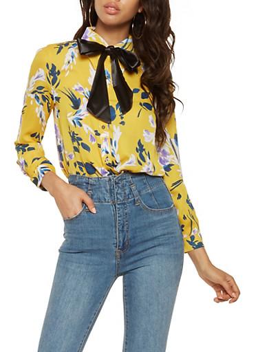 Floral Button Front Shirt,GOLD,large