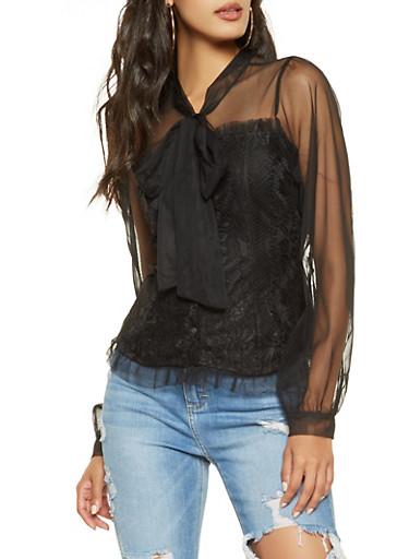 Tie Neck Lace Shirt,BLACK,large