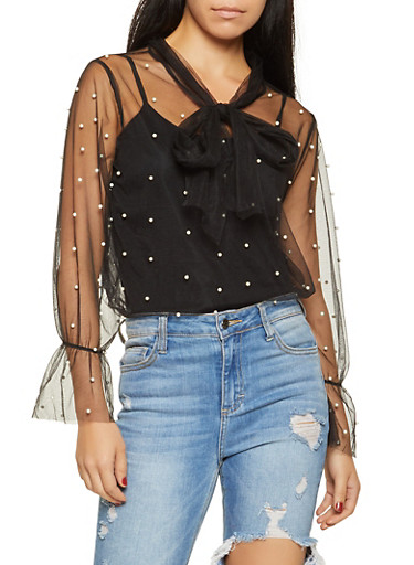 Faux Pearl Studded Mesh Top,BLACK,large