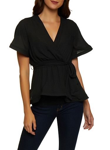 Structured Trim Tie Waist Top,BLACK,large