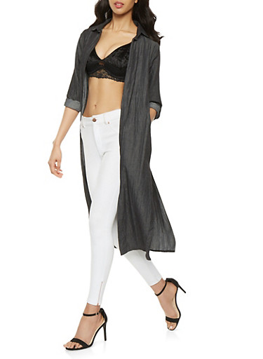 Open Front Chambray Duster,BLACK,large