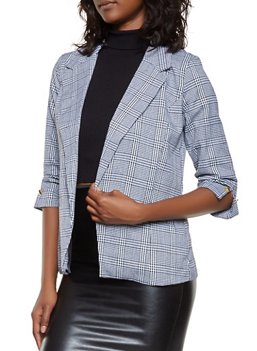 Ruched Sleeve Plaid Blazer,BLACK,large