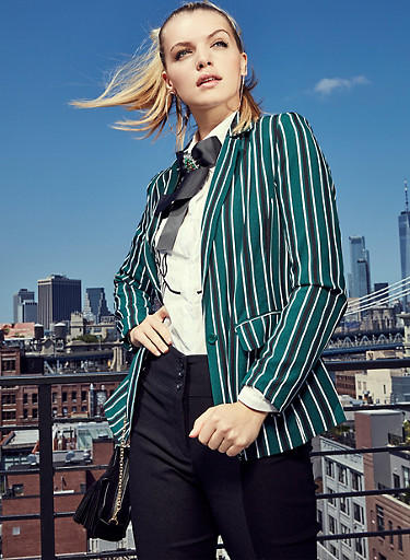 Striped Button Front Blazer,GREEN,large