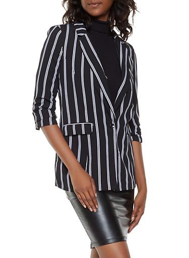 Ruched Sleeve Striped Blazer,BLACK/WHITE,large