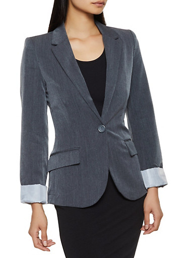 Lined Solid Blazer,CHARCOAL,large