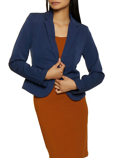 Long Sleeve Collared Blazer,NAVY,large