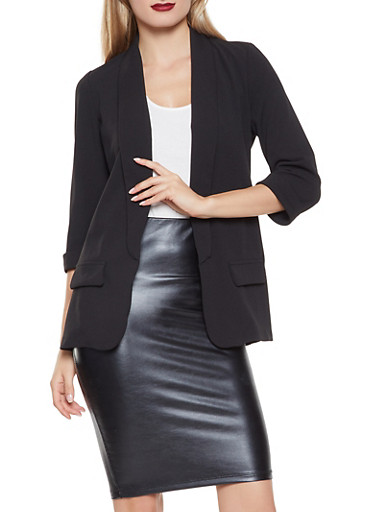 Solid Open Front Blazer,BLACK,large