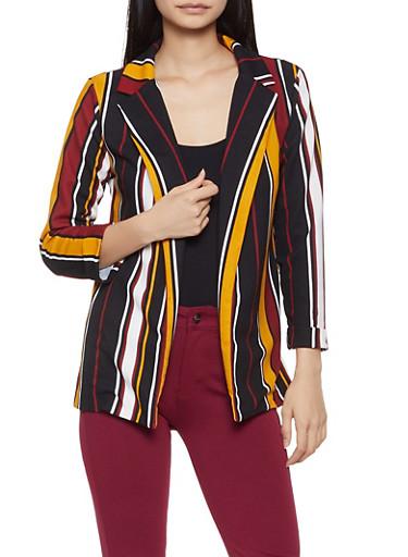 Striped Crepe Knit Blazer,MULTI COLOR,large