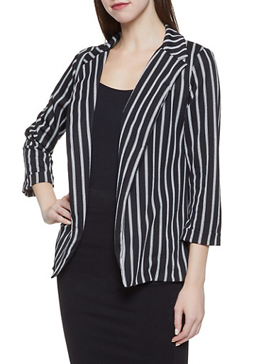Striped Crepe Knit Blazer,BLACK/WHITE,large