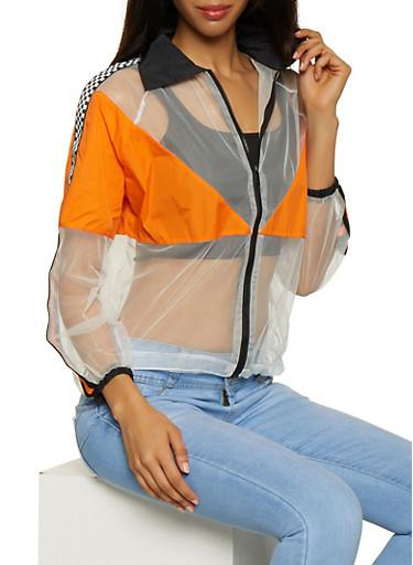 Checkered Tape Detail Mesh Jacket,ORANGE,large
