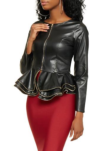 Faux Leather Peplum Jacket,BLACK,large