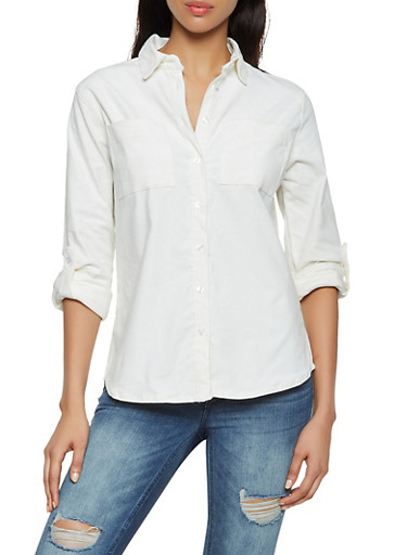 Corduroy Button Front Shirt,IVORY,large