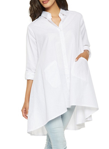 Oversized Button Front Tunic Top,WHITE,large