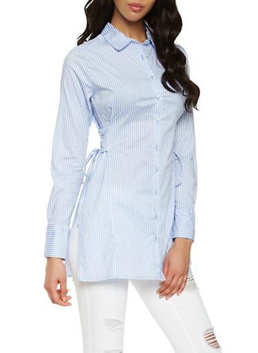 Striped Lace Up Side Tunic Shirt,BABY BLUE,large