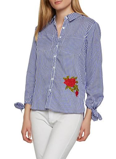 Rose Embroidered Striped Button Front Shirt,BABY BLUE,large