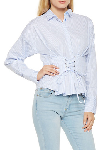 Striped Lace Up Waist Shirt,BABY BLUE,large