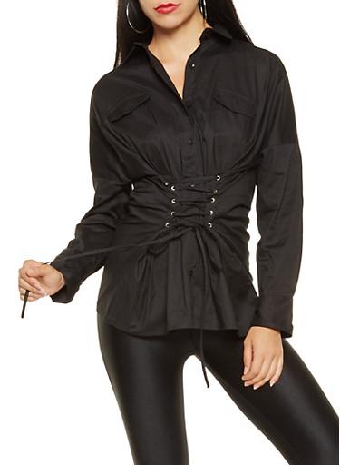 Lace Up Waist Shirt,BLACK,large